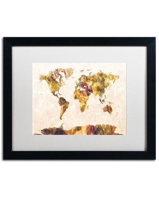 """Trademark Fine Art 'Map of the World' Framed Graphic Art Print on Canvas MT0881-B1114BMF / MT0881-B1620BMF Size: 16"""" H x 20"""" W x 0.5"""" D Matte Color: Black"""