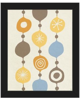 """Click Wall Art Retro Beads Yellow Framed Painting Print on Canvas RET0000654FRA Size: 16.5"""" H x 13.5"""" W x 1"""" D Frame Color: Black"""