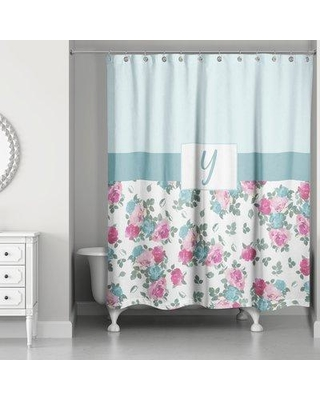One Allium Way Graciano Floral Monogram Shower Curtain ONAW3973 Letter: Y