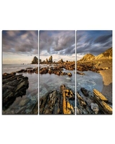 New Deal For Design Art Roaring Atlantic Rocky Coast 3 Piece Graphic Art On Wrapped Canvas Set Canvas Fabric In Brown Blue Size Medium 25 32 Wayfair