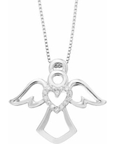 Timeless Sterling Silver Diamond Accent Heart & Angel Pendant Necklace, Women's, White