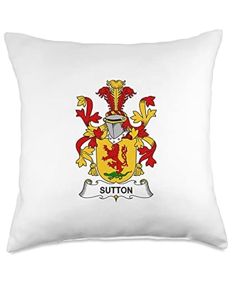 Family Crest and Coat of Arms clothes and gifts Sutton Coat of Arms - Family Crest Throw Pillow, 18x18, Multicolor