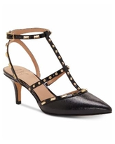 INC Carma Pointed Toe Studded Kitten Heel Pumps, Created for Macy's - Black