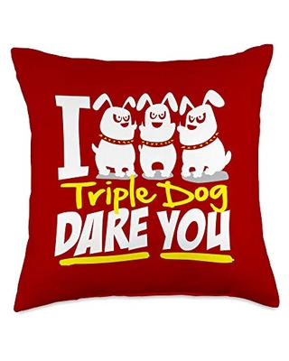 Detour Shirts I Triple Dog Dare You Funny Saying Graphic Throw Pillow, 18x18, Multicolor