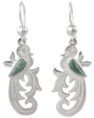 Hand Crafted Sterling Silver Bird Earrings with Jade Wing