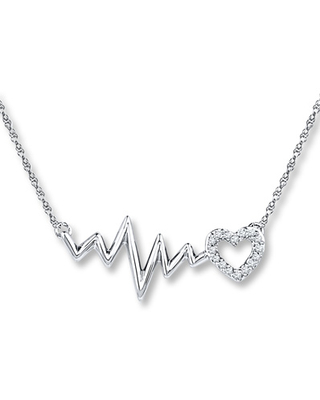 Jared The Galleria Of Jewelry Heartbeat Necklace 1/20 ct tw Diamonds Sterling Silver