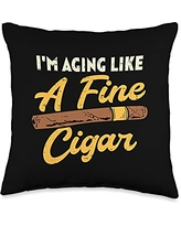 Best Dad Pillows Husband Birthday Fathers Day Gift Aging Like Fine Cigar Vintage Fathers Day Dad Grandpa Men Throw Pillow, 16x16, Multicolor