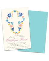 Personalized Cross With Flowers Baptism Invitation
