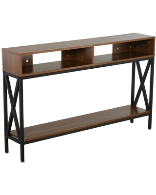 HomCom 47.25 in. Black 29.5 in. H Rectangular Wooden Console Table