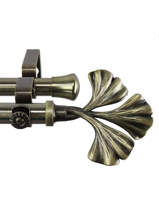 InStyleDesign Luck Adjustable Antique Brass Double Curtain Rod (28 to 48 inches)