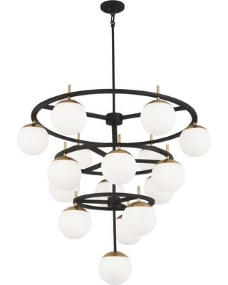 George Kovacs Alluria 16-Light Weathered Black with Autumn Gold Chandelier with Etched Opal Glass Shade