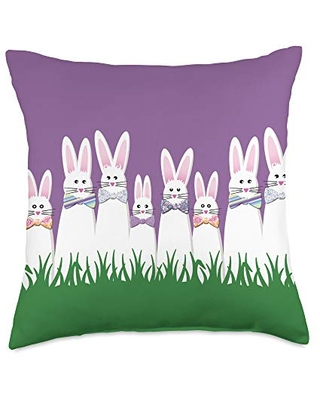 Don T Miss Deals On Easter Bunnies And Bow Ties Cute Easter Bunny Family In Bow Ties Throw Pillow 18x18 Multicolor