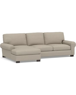 Turner Roll Arm Upholstered Left Arm 2-Piece Sectional with Chaise, Down Blend Wrapped Cushions, Performance Brushed Basketweave Sand