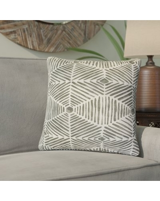 Tricia Geometric Cotton Throw Pillow Bloomsbury Market Color: Gray