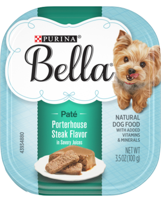 Purina Bella Natural Small Breed Pate Wet Dog Food Porterhouse Steak Flavor in Savory Juices 3.5 oz. Tray