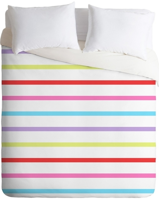 Full Queen Kelly Haines Pop Of Color Stripes Duvet Cover Set Deny Designs