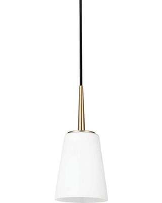 Sea Gull Lighting Driscoll 1-Light Satin Bronze Mini Pendant with Inside White Painted Etched Glass