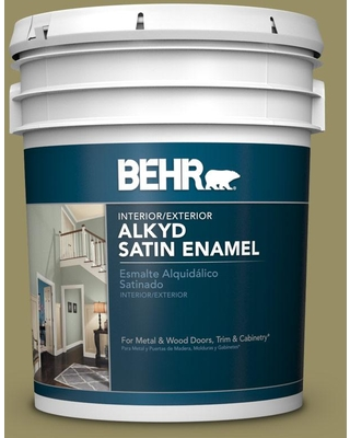 BEHR 5 gal. #390F-6 Tate Olive Urethane Alkyd Satin Enamel Interior/Exterior Paint