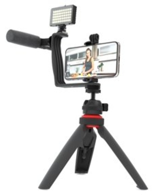 Digipower Super Star Essential Vlogging Kit, with LED Light, Microphone, Tripod and Mount