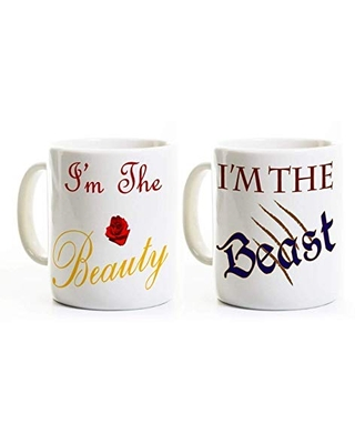 Beauty and Beast Coffee Mugs - Couples Gift Set - Anniversary Wedding - Valentine's Day