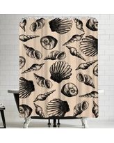 East Urban Home Jetty Printables Illustrated Sea Shell Shower Curtain URBR5048