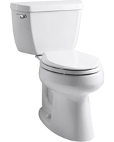 Kohler Highline Classic Comfort Height Two-Piece Elongated 1.28 GPF Toilet with Class Five Flush Technology and Left-Hand Trip Lever K-3658 Finish: White