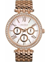 Caravelle by Bulova Women's Crystal Stainless Steel Watch - 44N111, Size: Medium, Pink