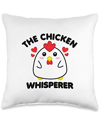 Detour Shirts The Chicken Whisperer Funny Poultry Cute Chick Black Text Throw Pillow, 16x16, Multicolor