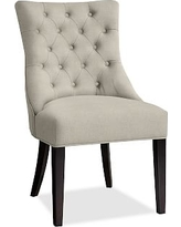 Hayes Upholstered Tufted Dining Side Chair, Mahogany Frame, Performance Heathered Tweed Pebble