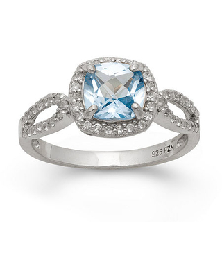 Lab Created Aquamarine & Lab Created White Sapphire Sterling Silver Ring, 9 , Blue