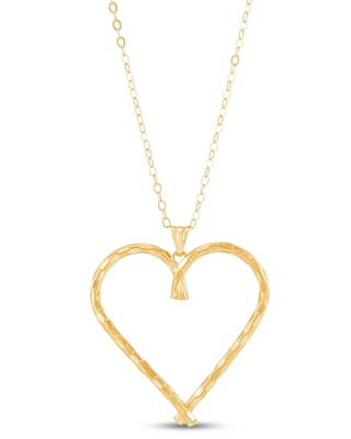 Jared The Galleria Of Jewelry Italia D'Oro Heart Pendant Necklace 14K Yellow Gold