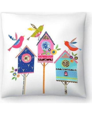 """East Urban Home Liz and Kate Pope Three Bird Houses and Birds Throw Pillow EBIC1721 Size: 16"""" x 16"""""""