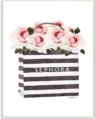 """Stupell Industries 10 in. x 15 in. """"Striped Makeup Shopping Bag Filled with Pink Roses"""" by Artist Amanda Greenwood Wood Wall Art, Multi-Colored"""