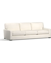 "Turner Square Arm Upholstered Grand Sofa 105"" without Nailheads, Down Blend Wrapped Cushions, Denim Warm White"