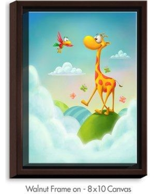 """DiaNoche Designs 'At the Hop Giraffe' by Tooshtoosh Painting Print on Wrapped Framed Canvas DNOC2189 Size: 15.75"""" H x 12.75"""" W x 1.75"""" D Frame Color: Walnut"""