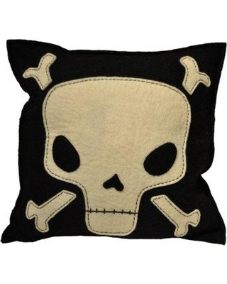 Ivy Bronx Manriquez Skull and Crossbone Wool Throw Pillow BF059817