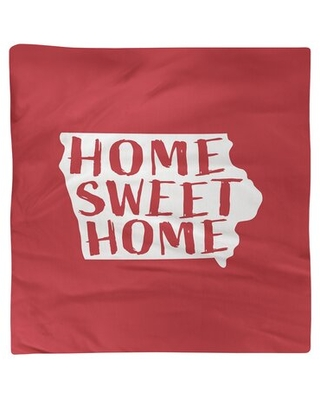"""Home Sweet Iowa Napkin East Urban Home Color: Red, Size: 10"""" W x 10"""" D, Material: Polyester"""