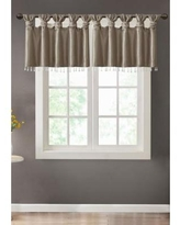 Madison Park Pewter Emilia Lightweight Faux Silk Valance With Beads