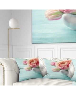 Designart 'Beautiful Pink Flowers in Vase' Floral Throw Pillow (Square - 16 in. x 16 in. - Small)