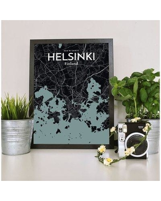 """OurPoster.com 'Helsinki City Map' Graphic Art Print Poster in Midnight OP-HEL Size: 27.6"""" H x 19.7"""" W"""