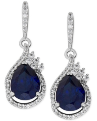 Lab-Created Sapphire (4-5/8 ct. t.w.) and White Sapphire (1/2 ct. t.w.) Drop Earrings in Sterling Silver