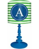 """Blue And Green """"A"""" Striped Monogram Kids Table Lamp"""