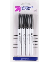 4ct Permanent Markers Fine Tip Black - Up&Up