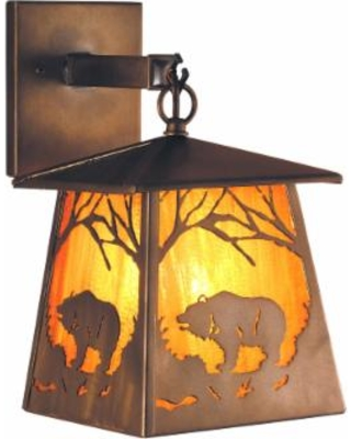 Meyda Lighting Grizzly Bear At Dawn 12 Inch Wall Sconce - 81343