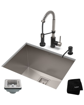 KRAUS 24-inch 18 Gauge Pax Laundry and Utility Sink Combo Set with Bolden 18-inch Kitchen Faucet and Soap Dispenser, Stainless Steel Matte Black Finish