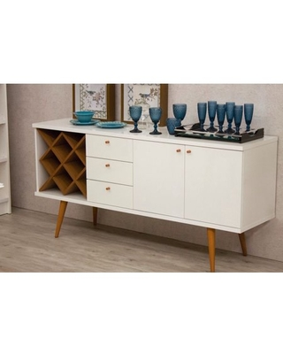 Manhattan Comfort Utopia 4 Bottle Wine Rack Sideboard Buffet Stand with 3 Drawers and 2 Shelves in Off White and Maple Cream