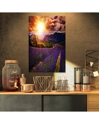 """Design Art 'Beautiful Sunset Over Lavender Field' Photographic Print on Wrapped Canvas Size: 32"""" H x 16"""" W x 1"""" D Format: Wrapped Canvas"""