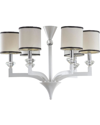 Safavieh Eric 6-Light Pearl White Chandelier with Off-White Cotton Shades