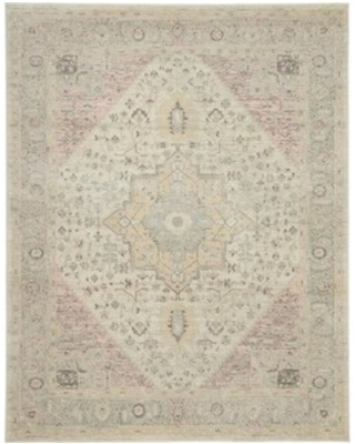 """Nourison Tranquil Traditional Area Rug (2'3"""" x 7'3"""" Runner - Ivory/Pink)"""