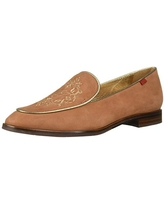 MARC JOSEPH NEW YORK Women's Leather Smoking Loafer with Embroidery Detail, Cognac Nubuck, 8 M US